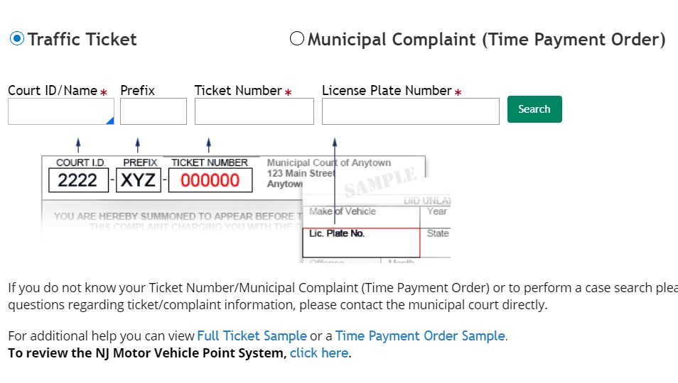 pay for New Jersey traffic tickets online