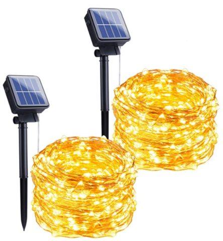 Outdoor Solar String Lights, 2 Pack 33FT 100 LED Solar Powered Fairy Lights