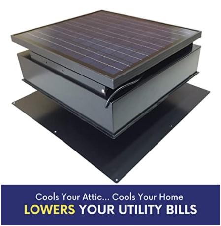 Remington 30-Watt Solar Attic Fan - Roof ventilator fan