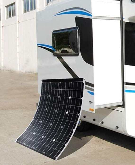 Winnewsun 100 Watts Bifacial Flexible Solar Panel installed on RV