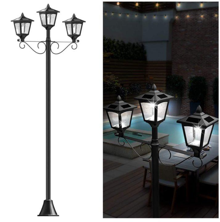 "72"" Solar Lamp Post Lights Outdoor, Triple-Head Street Vintage Solar Lamp Outdoor"